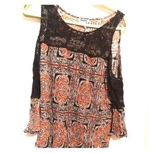 Brown cold shoulder top
